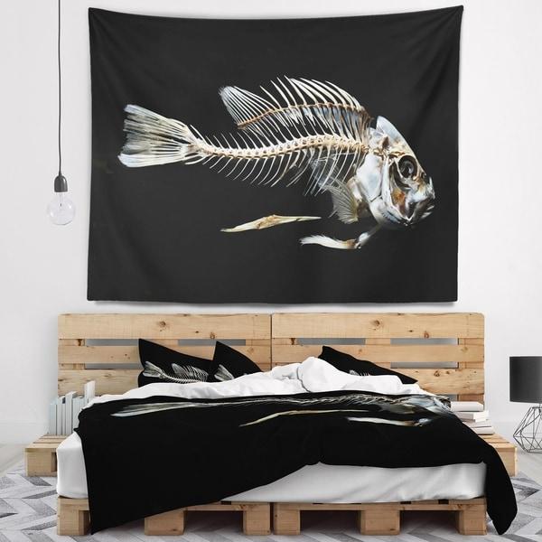 Designart 'Fish Skeleton Bone on Black' Animal Wall Tapestry