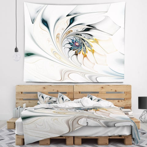 Designart 'White Stained Glass Floral Art' Floral Wall Tapestry