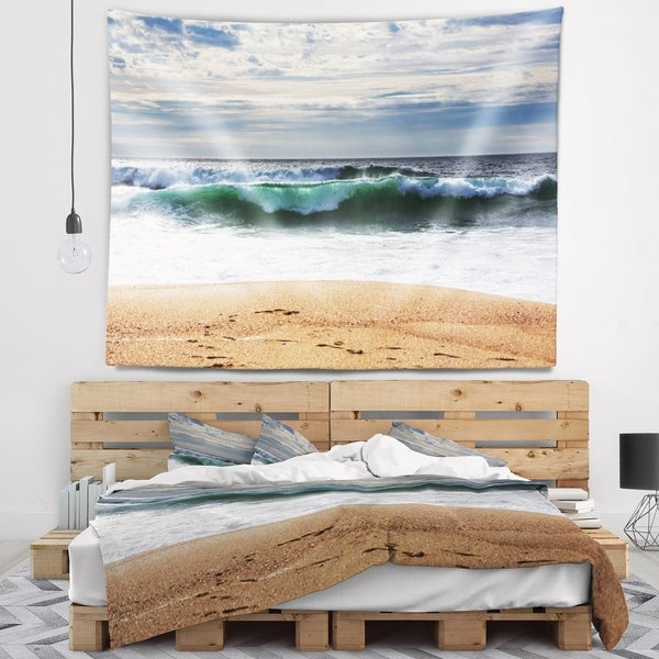 Designart 'Large Blue Waves and Blue Sky' Seashore Wall Tapestry