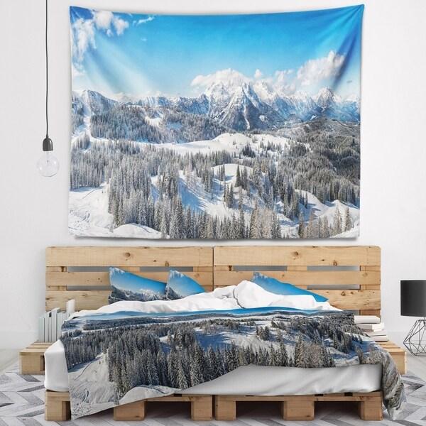 Designart 'Austrian Alps Winter Panorama' Landscape Wall Tapestry