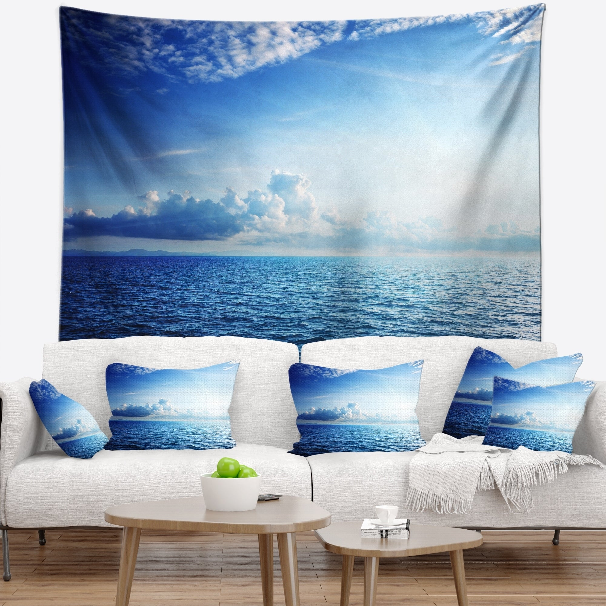 Shop Designart Blue Caribbean Sea And Perfect Blue Sky Seascape Wall Tapestry Overstock 20886019