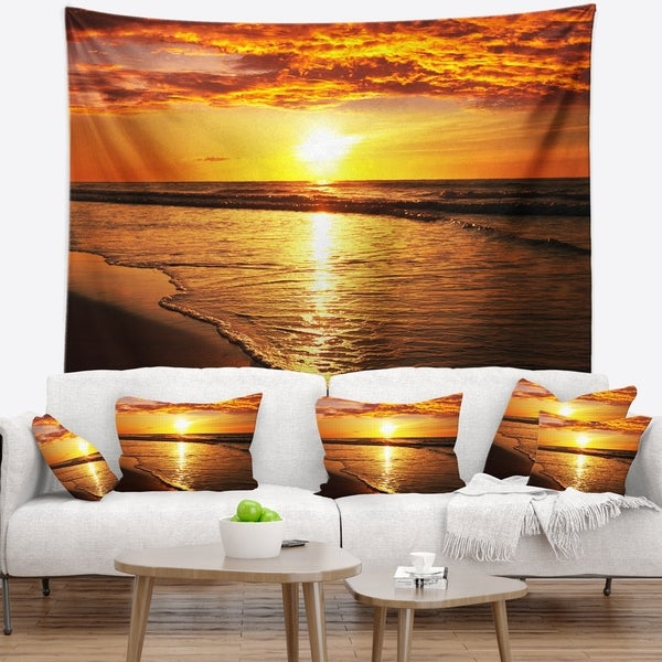 Designart 'Bright Yellow Sunset over Waves' Modern Beach Wall Tapestry
