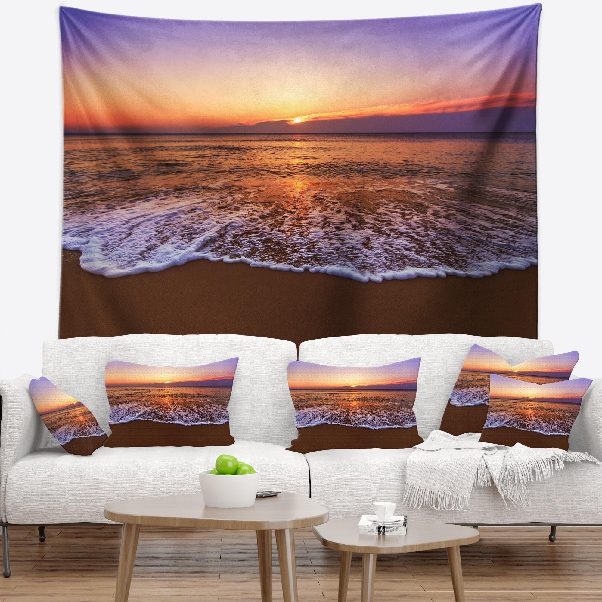 Designart Orange Tinged Sea Waters At Sunset Beach Photo Wall Tapestry Overstock 20886027