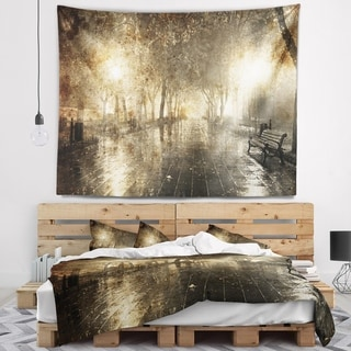 Designart 'Night Alley with Lights' Photography Landscape Wall Tapestry