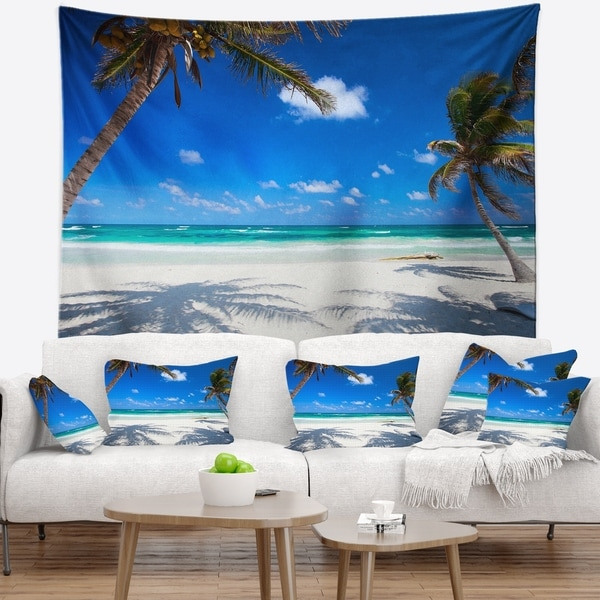 Designart 'Coconut Palms at Beach' Photo Landscape Wall Tapestry