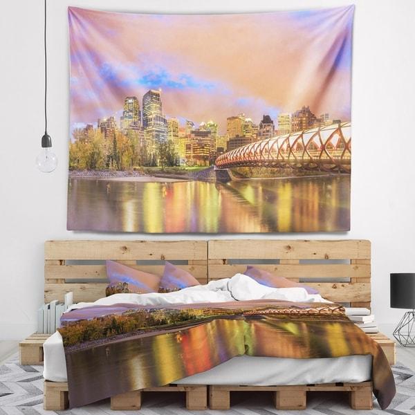 Designart 'Calgary at Night' Cityscape Photography Wall Tapestry