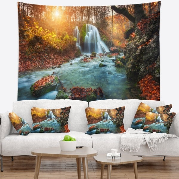 Designart 'Fast Flowing Fall River in Forest' Landscape Photography Wall Tapestry