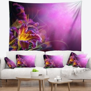 Designart 'Flowers on Purple Background' Floral Wall Tapestry