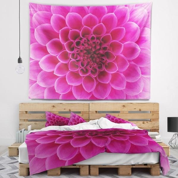 Designart 'Dark Pink Abstract Flower Petals' Floral Wall Tapestry