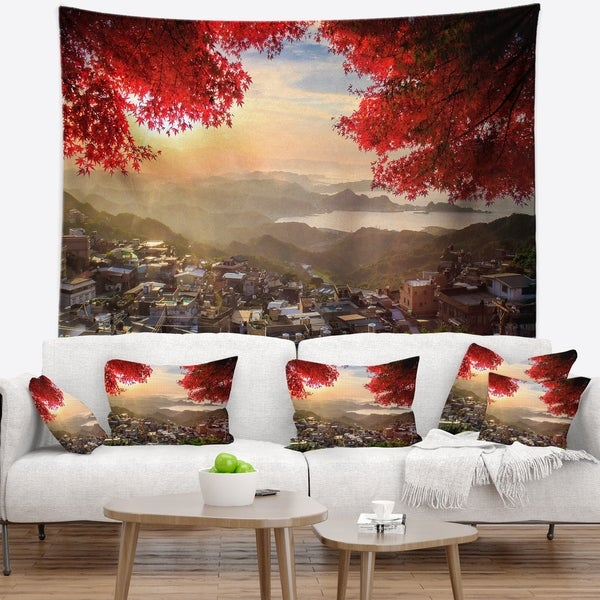 Designart 'Taiwan Township with Red Trees' Landscape Wall Tapestry