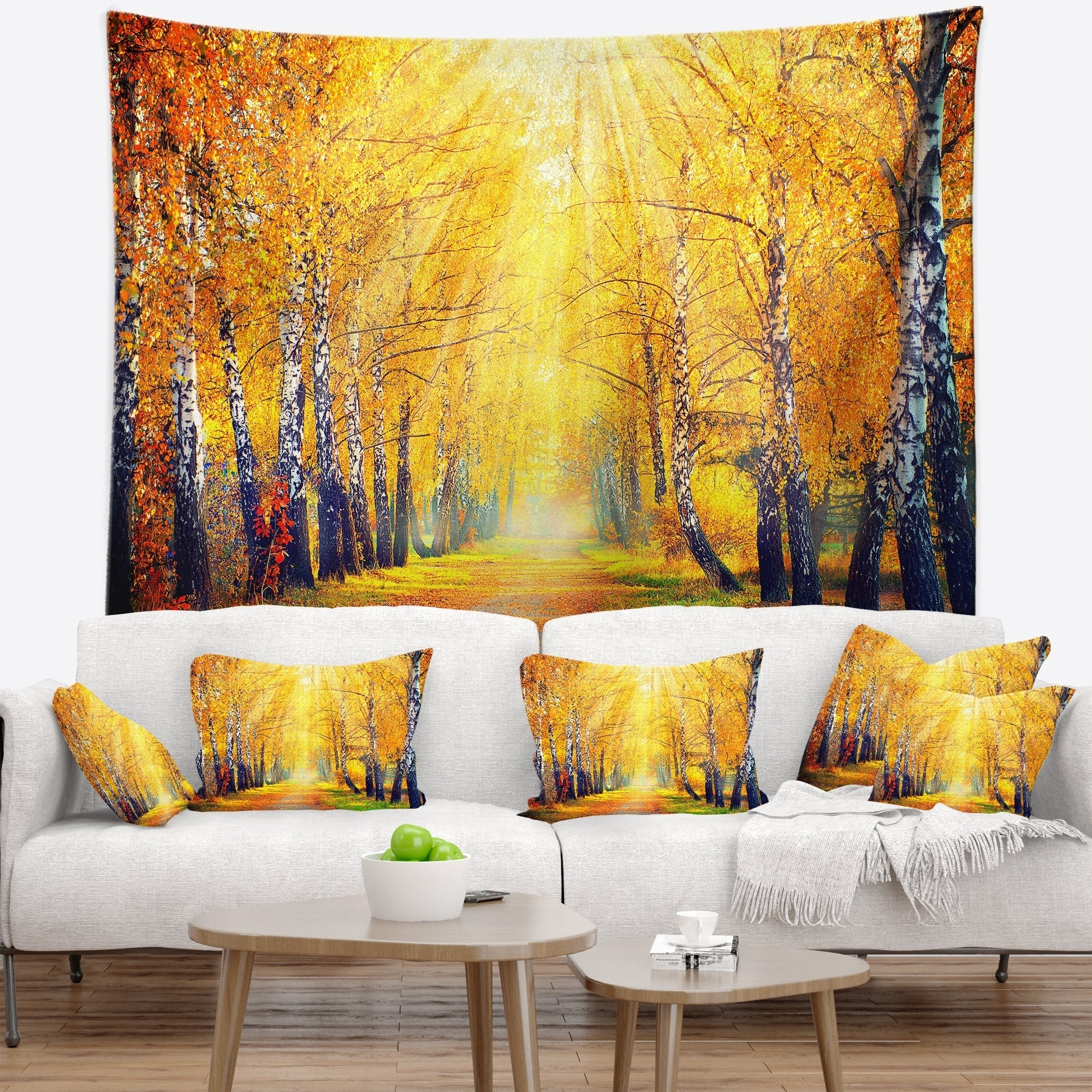 Designart Yellow Autumn Trees In Sunray Landscape Wall Tapestry Overstock 20886075
