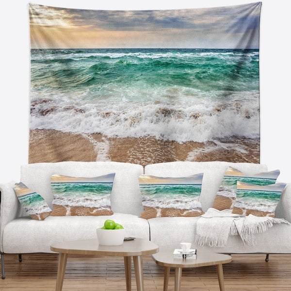 Designart 'Crystal Clear Blue Foaming Waves' Seascape Wall Tapestry
