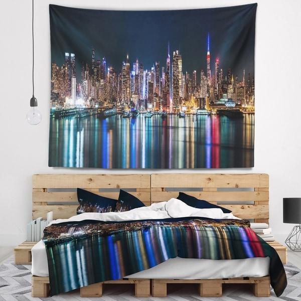 Designart 'New York Midtown Night Panorama' Wall Tapestry