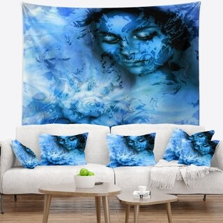 Designart 'Young Woman With Closed Eyes' Portrait Wall Tapestry