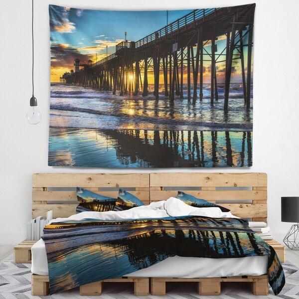 Designart 'Oceanside Pier at Evening' Landscape Photography Wall Tapestry
