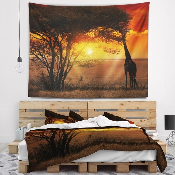 Designart 'Typical African Sunset with Giraffe' African Landscape Wall Tapestry