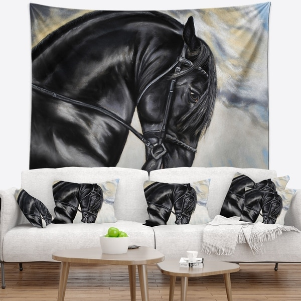Designart 'Friesian Horse Painting' Animal Wall Tapestry