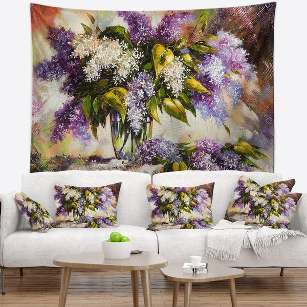 Designart 'Lilac Bouquet in a Vase' Floral Painting Wall Tapestry