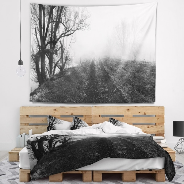 Designart 'Black and White Misty Landscape Panorama' Landscape Wall Tapestry