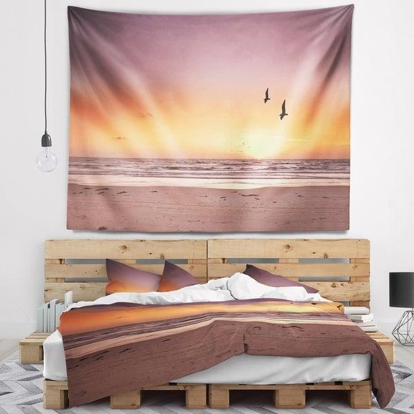Designart 'Beach Sunset and Sea Gulls' Modern Seashore Wall Tapestry
