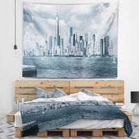 Designart 'Lower Manhattan Panorama Black White' Cityscape Wall Tapestry