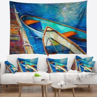 Designart 'Boats and Pier in Blue Shade' Seascape Wall Tapestry