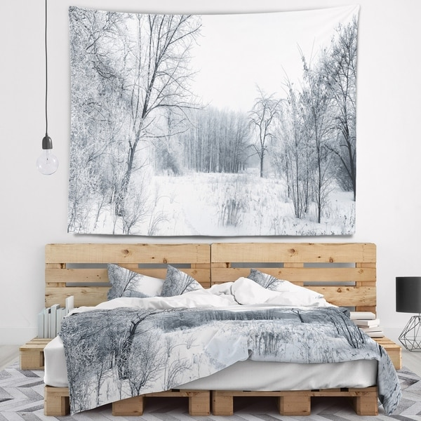 Designart 'Beautiful Winter Panorama' Landscape Wall Tapestry