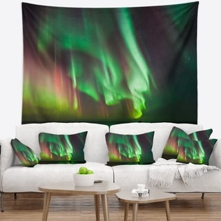 Designart 'Green Northern Lights Aurora' Abstract Wall Tapestry
