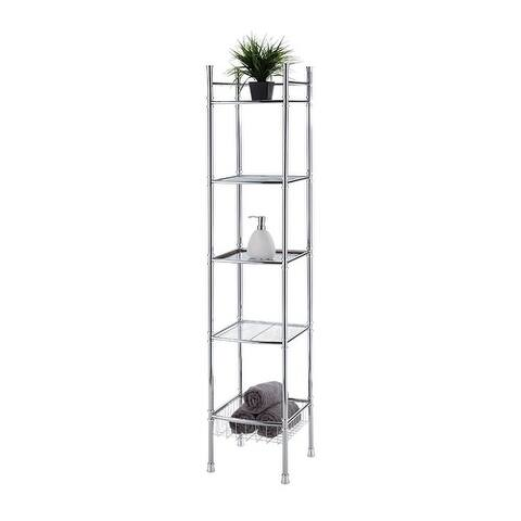 Offex 5-Tier Tower Shelf - Chrome Finish
