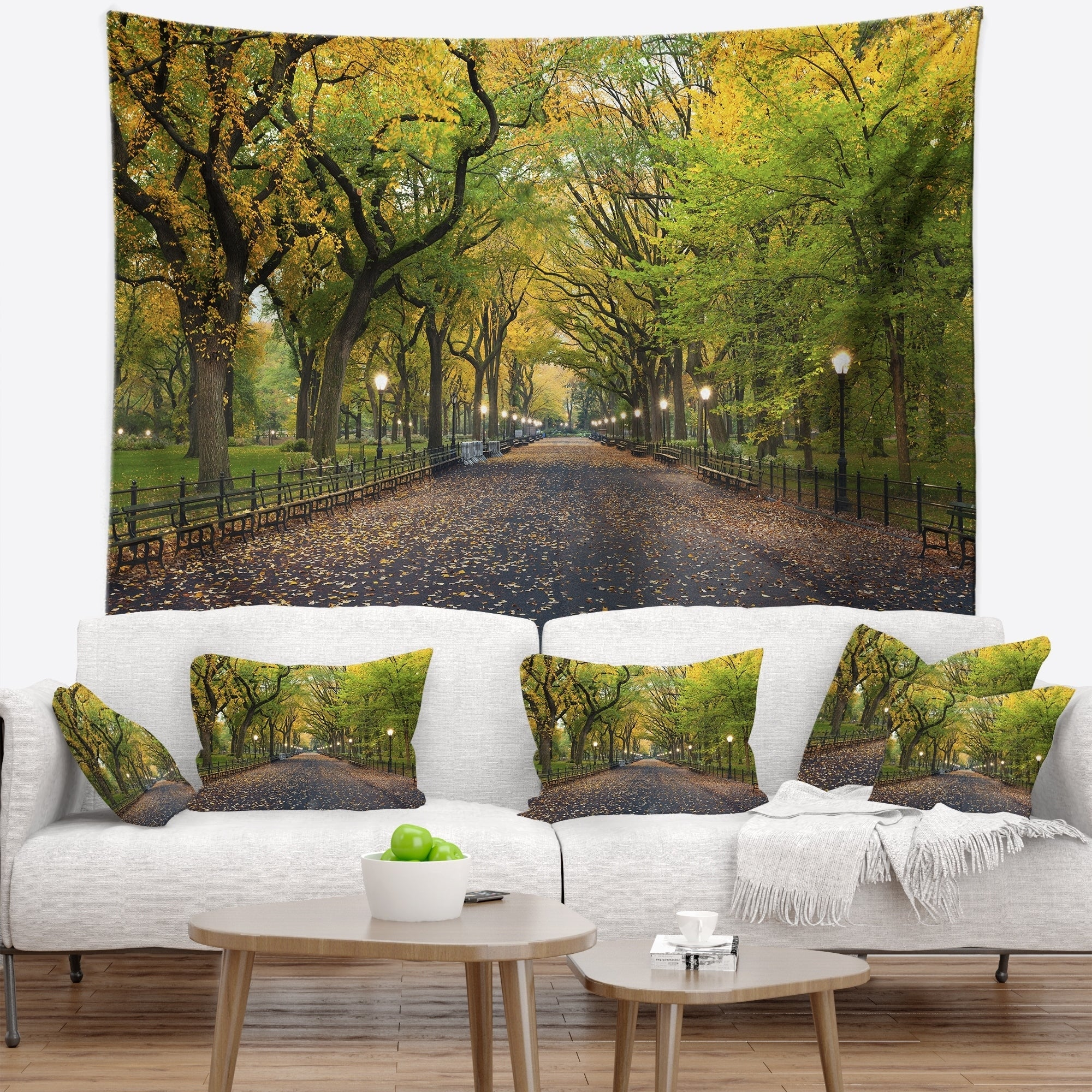 Designart The Mall Area In Central Park Landscape Wall Tapestry Overstock 20886151
