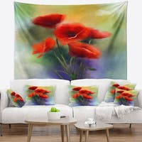 Designart 'Watercolor Red Poppy Flowers Painting' Floral Wall Tapestry