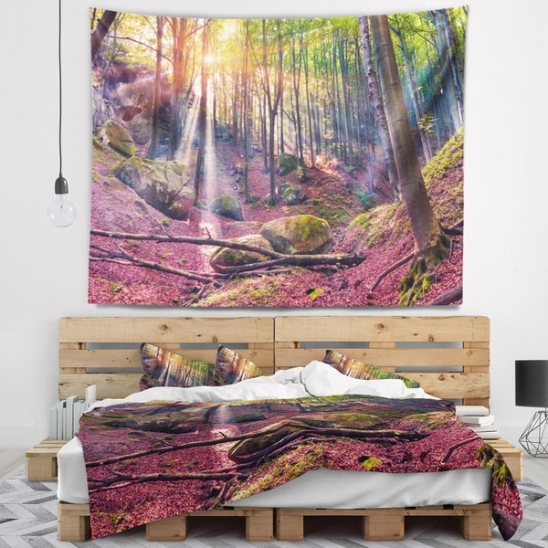Designart 'Autumn Morning in Mystical Woods' Landscape Wall Tapestry