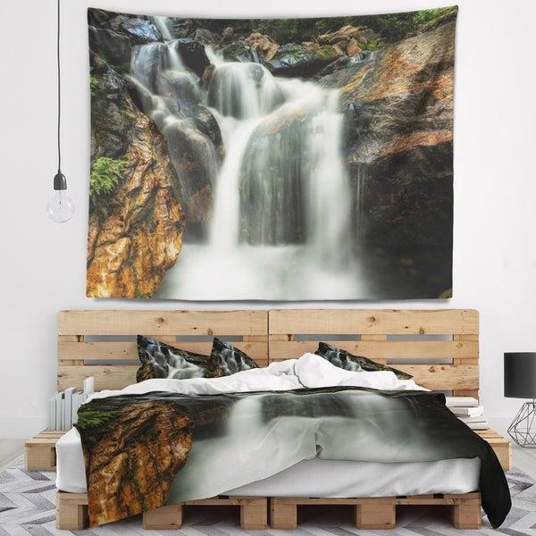 Designart 'Slow Motion Waterfall on Rocks' Landscape Wall Tapestry