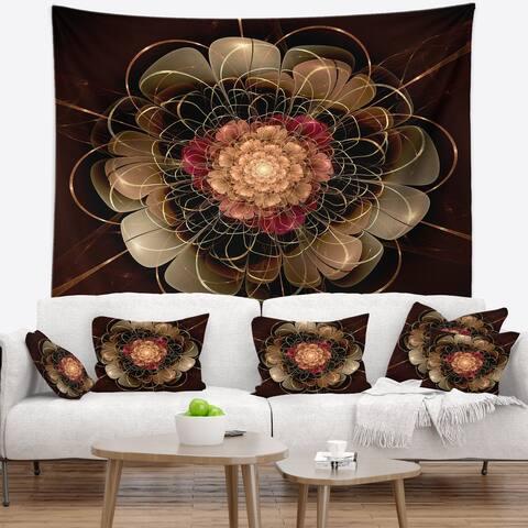 Designart 'Dark Gold Red Fractal Flower Pattern' Floral Wall Tapestry