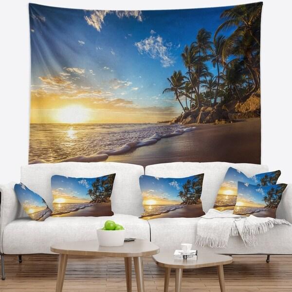 Designart 'Paradise Tropical Island Beach Sunrise' Seashore Wall Tapestry