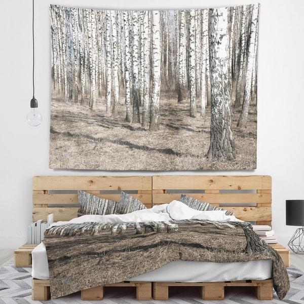 Designart 'Beautiful Dense Birch Forest View' Modern Forest Wall Tapestry