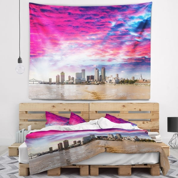 Designart 'New Orleans Building and Skyscrapers' Modern Cityscape Wall Tapestry