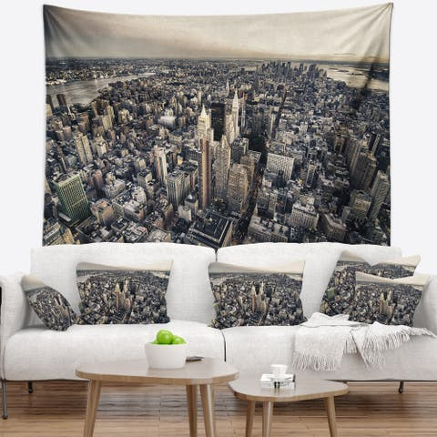 Designart 'Architecture and Colors of New York' Modern Cityscape Wall Tapestry