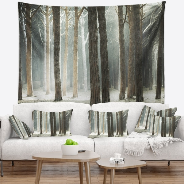 Designart 'Maritime Pine Tree Forest with Rays' Forest Wall Tapestry