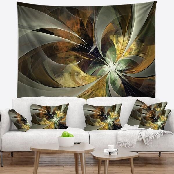 Designart 'Symmetrical Gold Fractal Flower' Floral Wall Tapestry