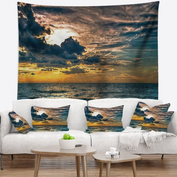 Designart 'Sun Break over Blue Ocean' Seashore Wall Tapestry