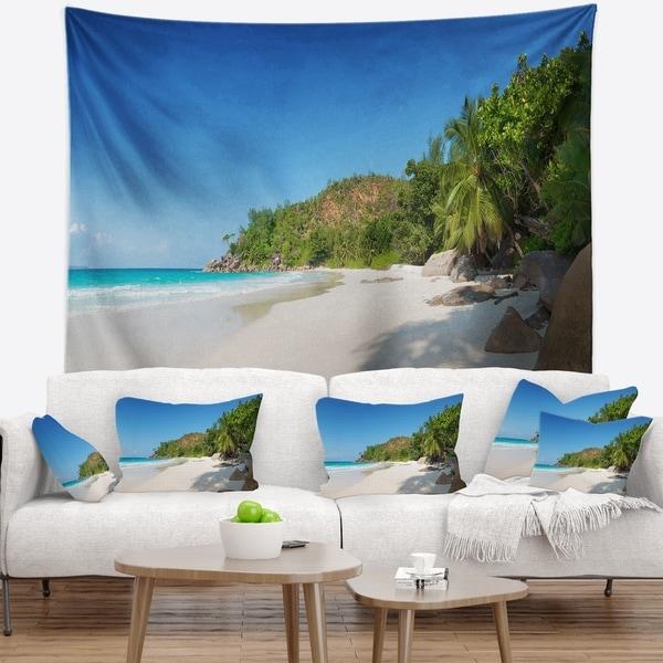Designart 'Anse Georgette Beach Light Blue' Seascape Wall Tapestry