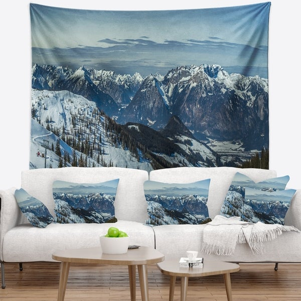 Designart 'White Ski Slope Panoramic View' Landscape Wall Tapestry