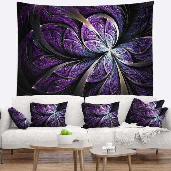 Designart 'Glittering Purple Fractal Flower' Floral Wall Tapestry