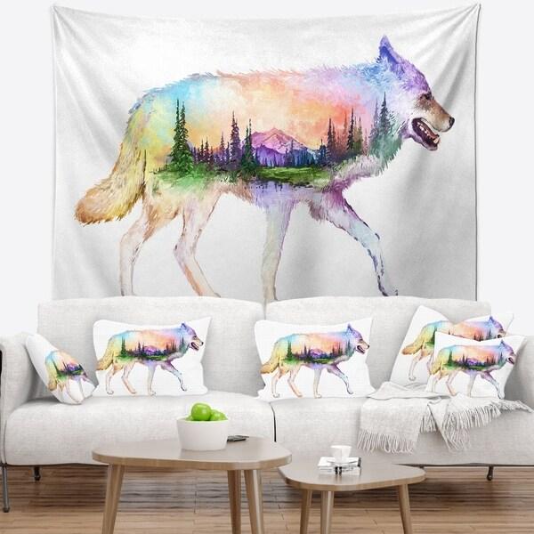 Designart 'Wolf Double Exposure Illustration' Animal Wall Tapestry
