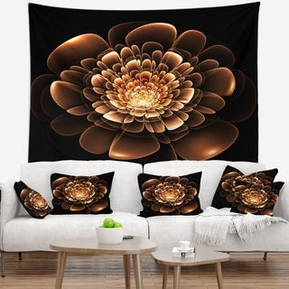 Designart 'Glittering Brown Yellow Fractal Flower' Floral Wall Tapestry