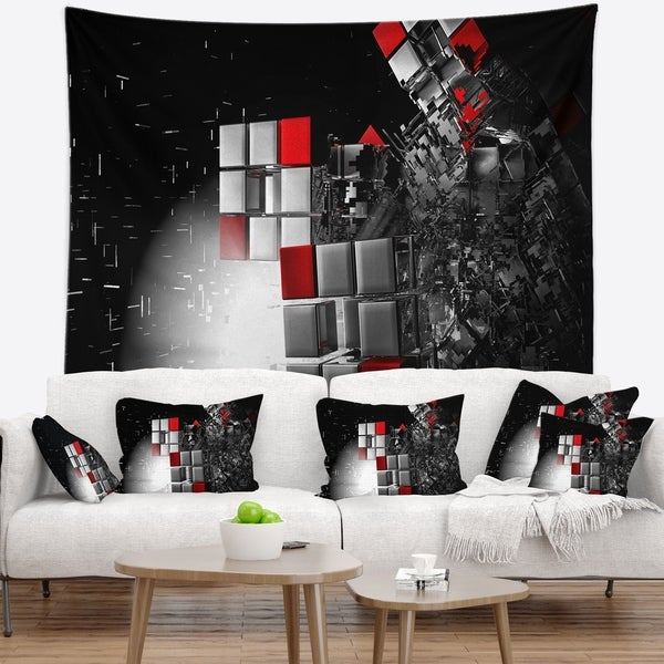 Designart 'Fractal 3D Red White Cubes' Contemporary Wall Tapestry