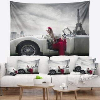 Designart 'Fashion Woman in Car' Cars Wall Tapestry