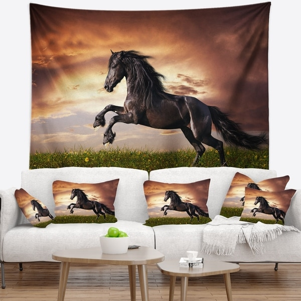 Designart 'Black Friesian Horse Gallop' Abstract Wall Tapestry