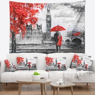 Designart 'Couples Walking in Paris' Landscape Wall Tapestry